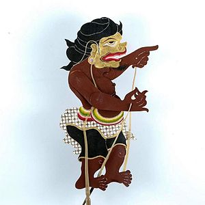 Wayang kulit figure of buffalo hide, represent...