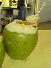 A relatively young coconut which has been served in a hawker centre in Singapore with a straw with which to drink its coconut water.