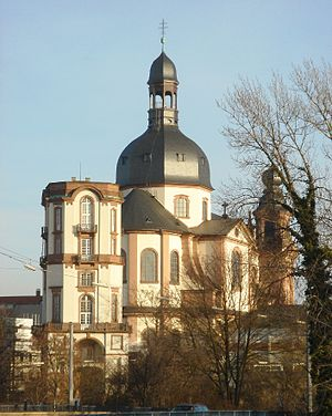 English: Mannheim Jesuit Church from West