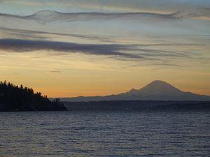 Facing southeast from Seward Park, Seattle.