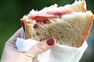 A salami sandwich