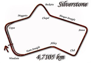 Diagram of the Silverstone Circuit following c...