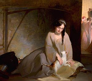 Painting: Cinderella at the Kitchen Fire, by T...