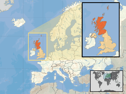 Location of Scotland(orange)–in the European continent(camel &white)–in the United Kingdom(camel)