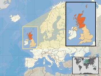 Location of Scotland in the UK and Europe, on ...