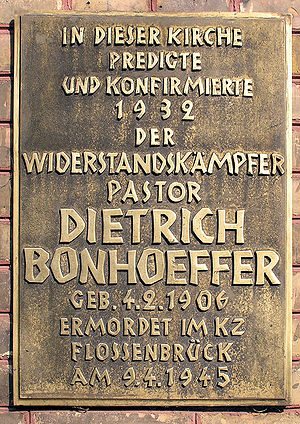 Memorial plaque, Dietrich Bonhoeffer, Zionskir...