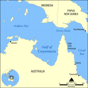 Map showing the location of the Gulf of Carpen...