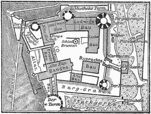 Heidelberg Schloss Plan, 1888.