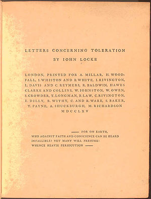 Letter concerning toleration cover, 1765 edition