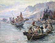 Lewis and Clark on the Lower Columbia by Charles Marion Russell