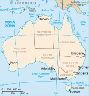 A clickable map of Australia's states and main...