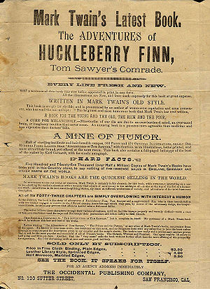 A promotional flyer for Adventures of Hucklebe...