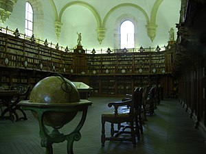 A globe displayed in the old library of the Un...