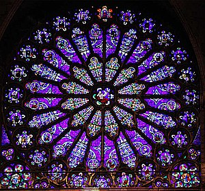 Rose window in Basilica of St Denis, France, d...