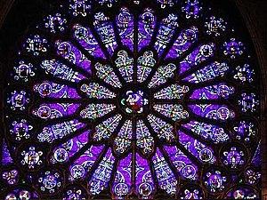 Rose window in Basilica of St Denis, France, d...
