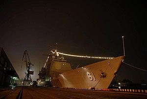 USS Monterey (CG-61) at night