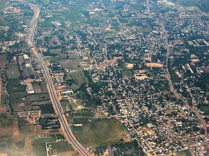 Aerial view of Poonamallee(right) and the Poon...