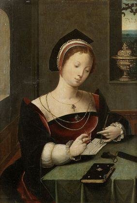 File:A woman as the Magdalen writing at a table in an interior.jpg