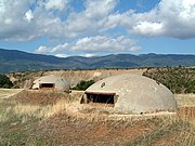 Pill boxes in Albania built during Hoxha's rule to avert possible external invasion. Over half a million were built.
