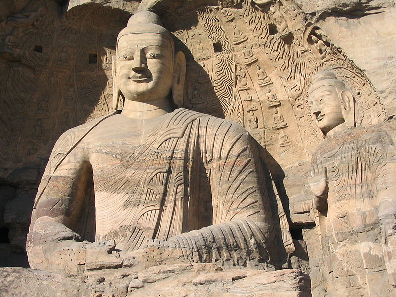 File:Buddhas in collapsed cave Yungang.jpg