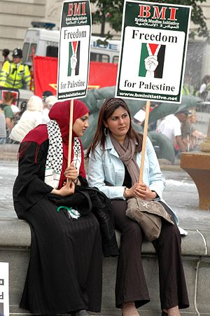 Protesters at a Freedom for Palestine March