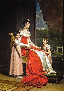 Julie Clary et ses enfants, par François Gérard, 1808, huile sur toile, 200 × 144 cm, Dublin, National Gallery of Ireland.