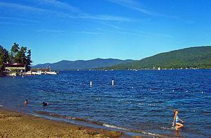 English: Lake George, NY, USA, from village be...