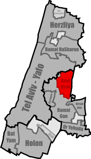 English: Location of Bnei Brak within the Tel ...