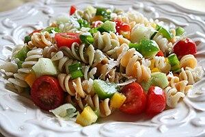 Pasta salad close-up.