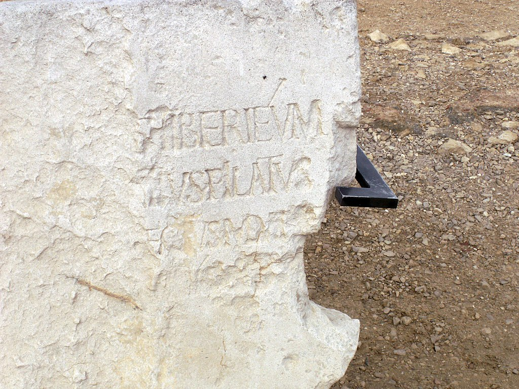 Close-up of the Pilate Stone (replica)