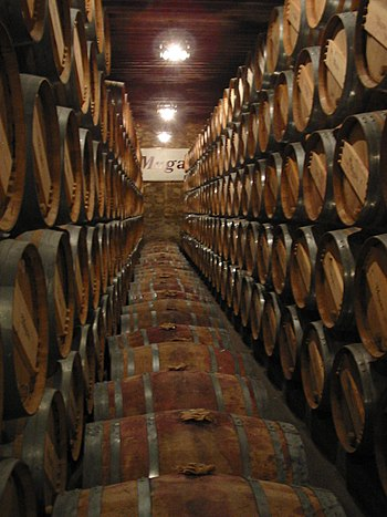 English: Wine barrels kept on a cellar in Haro...