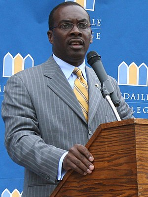 Byron Brown speaking at Medaille College