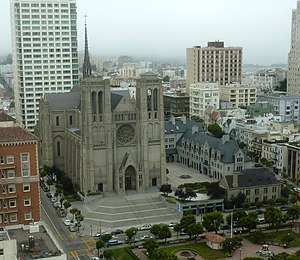 English: The Grace Cathedral and attached buil...