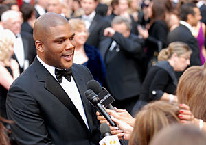 Tyler Perry mixes it up with the media on the ...