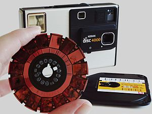 Camera Kodak Disc 4000 with disc film negative.