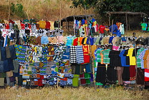 English: Local Fabric and Clothes market