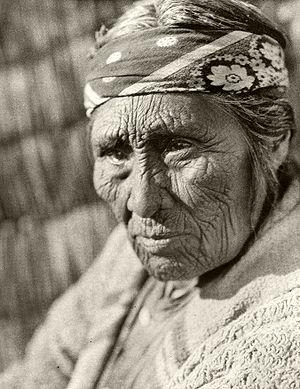 Elderly Klamath woman photographed by Edward S...