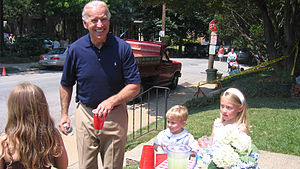 Sen. Joe Biden buys lemonade at the 2007 Itali...