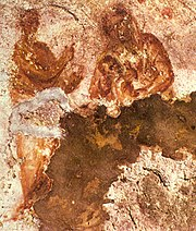 The oldest-known image of Mary depicts her nursing the Infant Jesus. 2nd century, Catacomb of Priscilla, Rome.
