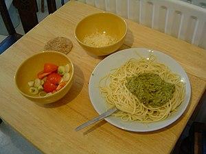 Pasta and pesto, with parmesan cheese (Parmigi...