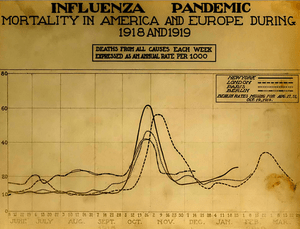 English: The Spanish Influenza. Chart showing ...