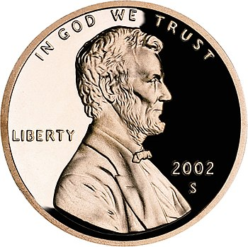 United States penny, obverse, 2002