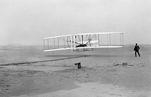 First successful flight of the Wright Flyer, b...