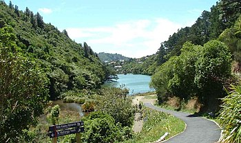 English: Lower Karori Reservior, looking North...