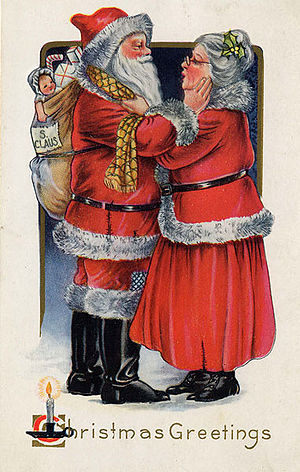 A postcard from 1919, with artwork of Santa Cl...