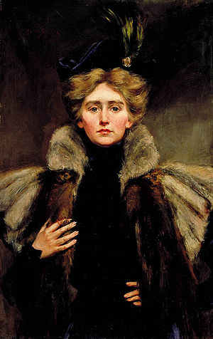 English: Natalie in Fur Cape (ca. 1905) - A po...