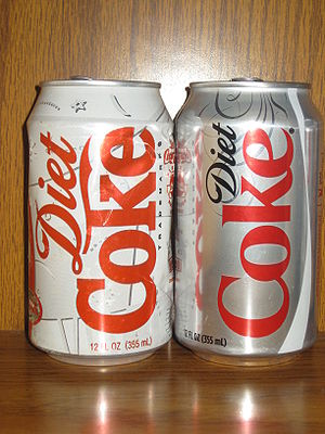Old and new Diet Coke cans.