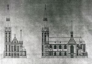Blueprint of design Heilig Hartkerk, Eindhoven...