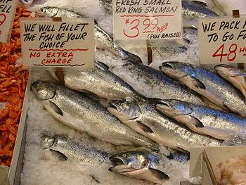 Salmon in a market, Seattle, USA