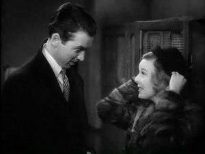 Cropped screenshot of James Stewart and Margar...